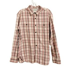 LUCKY BRAND Gray, White, & Red Plaid Button Up